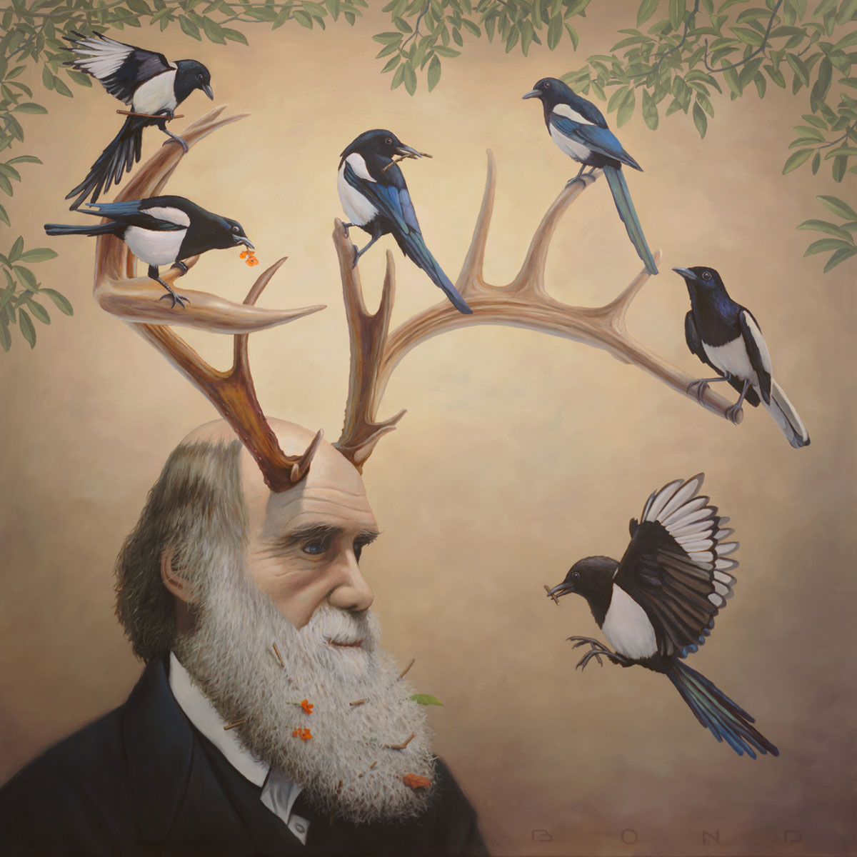 Charles Darwin in a Case of Natural Selections, painting of Charles Darwin with antlers, natural selection art, painting about theory evolution, art about ecology, painting meaning happiness positive joy, art with magpie, bird flying in the sky, art with horns, painting of man with beard, magic realism art of person with antlers, historical art, painting of birds, surreal art about climate change, painting with nature, peaceful art, painting of 1800's, soulful uplifting inspirational art, soul stirring illusion art, romantic art,  surrealism, surreal art, dreamlike imagery, fanciful art, fantasy art, dreamscape visual, metaphysical art, spiritual painting, metaphysical painting, spiritual art, whimsical art, whimsy art, dream art, fantastic realism art, limited edition giclee, signed art print, fine art reproduction, original magic realism oil painting by Paul Bond
