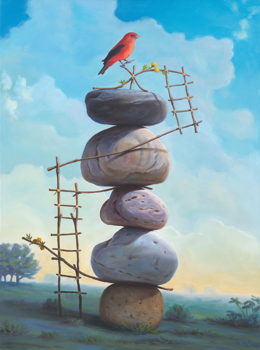 A Delicate Perch, painting of a red bird perched atop stacked stones with ladders built out of twigs and flowers on a hillside, art includes birds, red, stacked stones, cairn, rocks, sky, flying, twigs, ladder, structure, precarious balance, clouds, art represents courage, art represents release, soulful uplifting inspirational art, soul stirring illusion art, romantic art,  surrealism, surreal art, dreamlike imagery, fanciful art, fantasy art, dreamscape visual, metaphysical art, spiritual painting, metaphysical painting, spiritual art, whimsical art, whimsy art, dream art, fantastic realism art, limited edition giclee, signed art print, fine art reproduction, original magic realism oil painting by Paul Bond