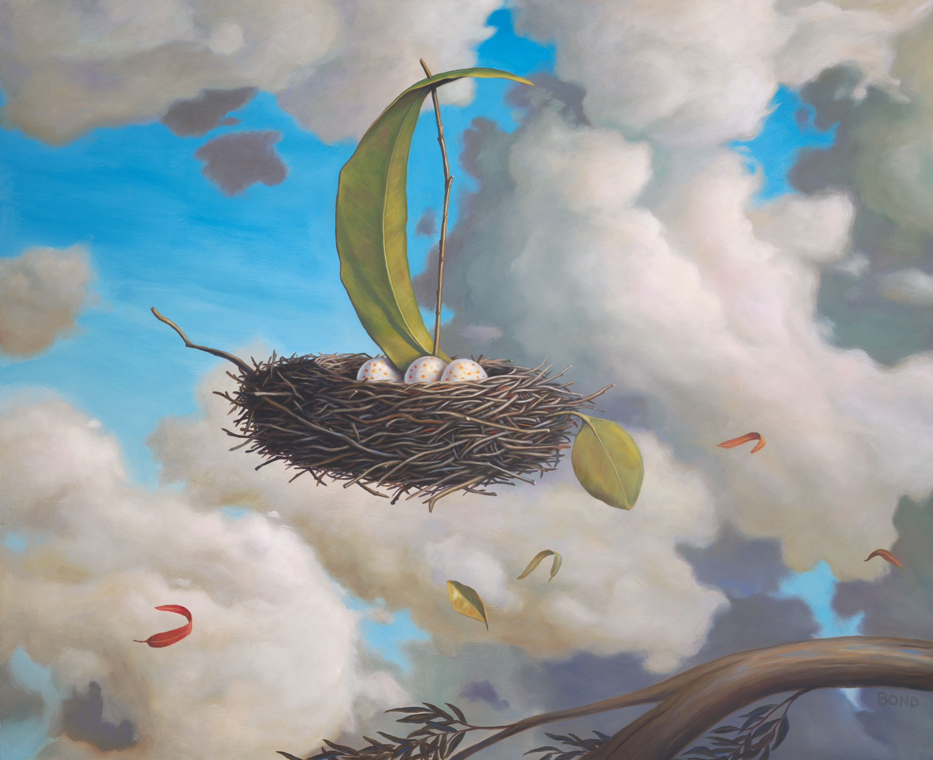 A Favorable Wind, painting of floating birds nest with three eggs, elements in art are leafs and twigs floating on a breeze wind with clouds, art metaphors are grace risk courage and taking chances, soulful uplifting inspirational art, soul stirring illusion art, romantic art,  surrealism, surreal art, dreamlike imagery, fanciful art, fantasy art, dreamscape visual, metaphysical art, spiritual painting, metaphysical painting, spiritual art, whimsical art, whimsy art, dream art, fantastic realism art, limited edition giclee, signed art print, fine art reproduction, original magic realism oil painting by Paul Bond