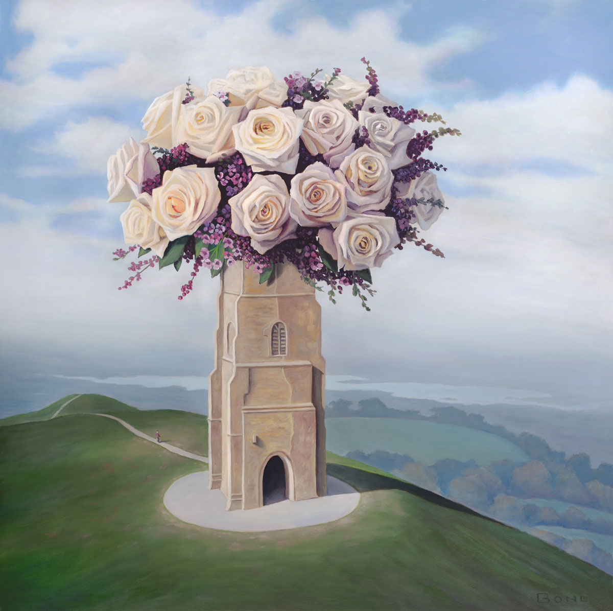 A Homecoming, art with roses, painting of the Glastonbury Tor, art with flowers, art with castle, painting of Tower of St Michael's in Glastonbury, England, painting of abby church ruins, art with man walking on path, portrait of landscape with clouds, male figure with hill and sky, painting meaning reincarnation, art meaning grace love and peace, art conveying travel, painting with idealism, soulful uplifting inspirational art, soul stirring illusion art, romantic art,  surrealism, surreal art, dreamlike imagery, fanciful art, fantasy art, dreamscape visual, metaphysical art, spiritual painting, metaphysical painting, spiritual art, whimsical art, whimsy art, dream art, fantastic realism art, limited edition giclee, signed art print, fine art reproduction, original magic realism oil painting by Paul Bond