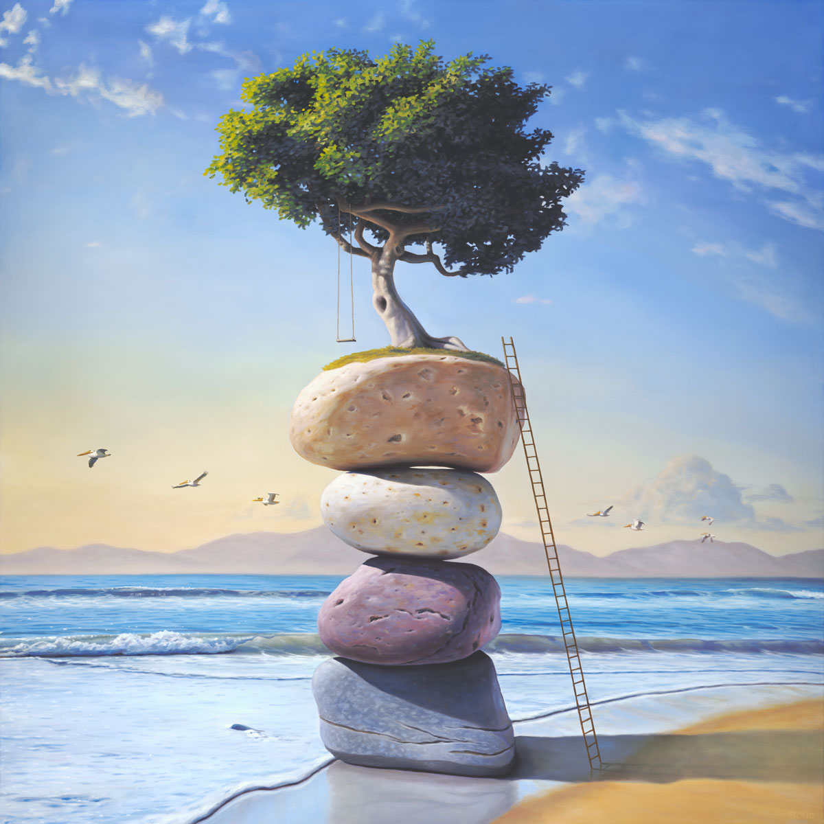 A Hymn to the Summer of My Long Ago, art wtih painting of a tree and tree swing perched on top of stacked stones on the beach with a ladder,  art with pelican bird, art with stacked stones, art with cairn rocks, art wtih flying swing in the sky, art metaphors about remembering memory memories childhood and structure, clouds, ocean, art about precarious balance, soulful uplifting inspirational art, soul stirring illusion art, romantic art,  surrealism, surreal art, dreamlike imagery, fanciful art, fantasy art, dreamscape visual, metaphysical art, spiritual painting, metaphysical painting, spiritual art, whimsical art, whimsy art, dream art, fantastic realism art, limited edition giclee, signed art print, fine art reproduction, original magic realism oil painting by Paul Bond