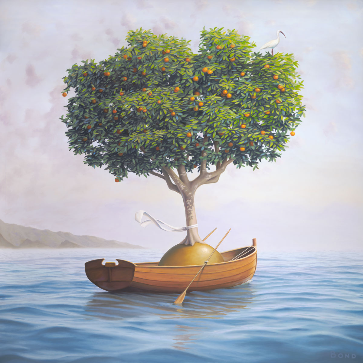An Expedition of Supreme Benevolence, painting of an orange tree in a rowboat with a scarf on the water, art wtih orange tree, art wtih rowboat, art with ship, art with orb, dreamscape of ocean illusion, painting wtih optical illustion, art with ocean wave and surf, soulful uplifting inspirational art, soul stirring illusion art, romantic art,  surrealism, surreal art, dreamlike imagery, fanciful art, fantasy art, dreamscape visual, metaphysical art, spiritual painting, metaphysical painting, spiritual art, whimsical art, whimsy art, dream art, fantastic realism art, limited edition giclee, signed art print, fine art reproduction, original magic realism oil painting by Paul Bond