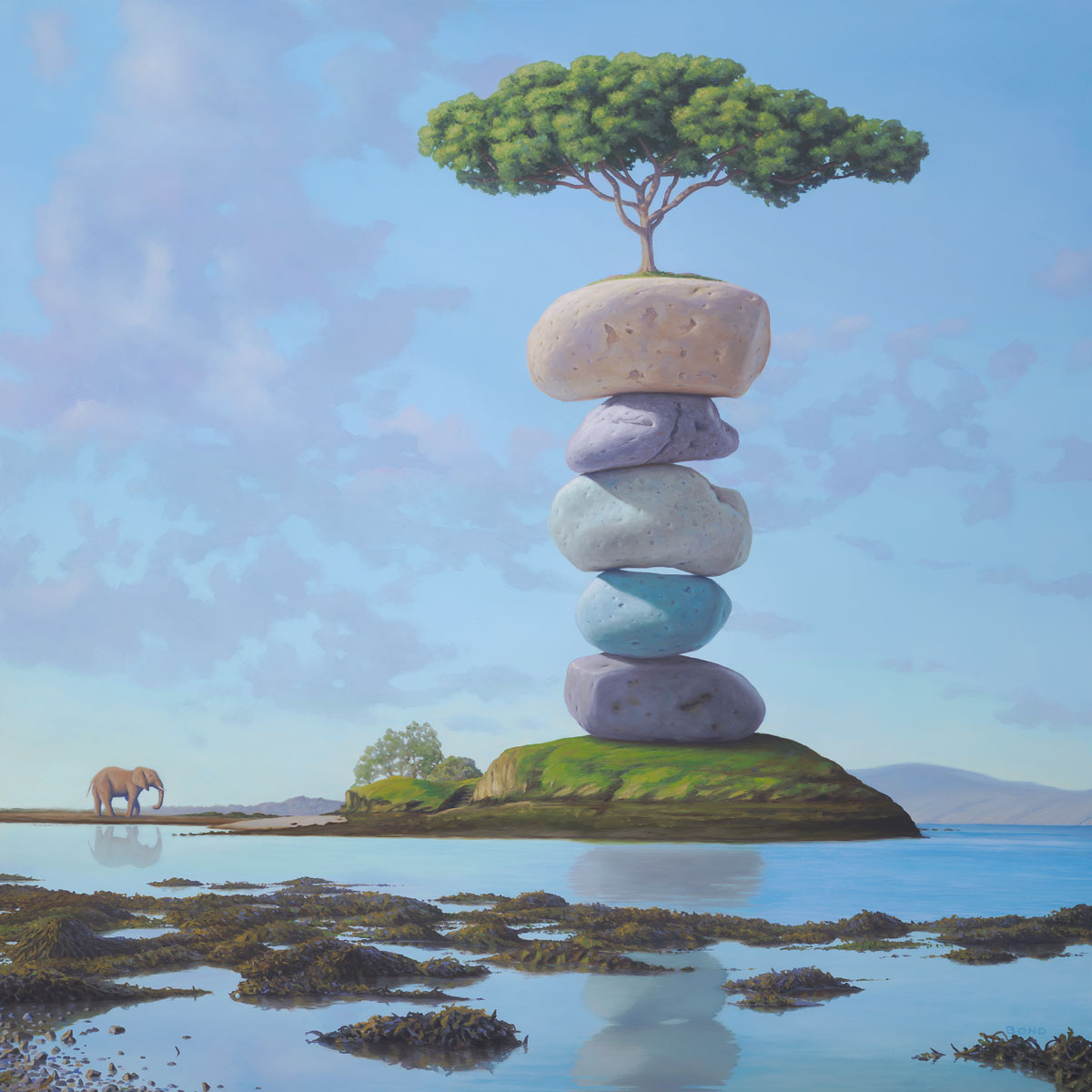 Approaching the Sacred, painting of elephant approaching bonzai tree sitting on top of colorful stacked stones, art with elephant, art with cairn, art about sacfred holy reverence, soulful uplifting inspirational art, soul stirring illusion art, romantic art,  surrealism, surreal art, dreamlike imagery, fanciful art, fantasy art, dreamscape visual, metaphysical art, spiritual painting, metaphysical painting, spiritual art, whimsical art, whimsy art, dream art, fantastic realism art, limited edition giclee, signed art print, fine art reproduction, original magic realism oil painting by Paul Bond