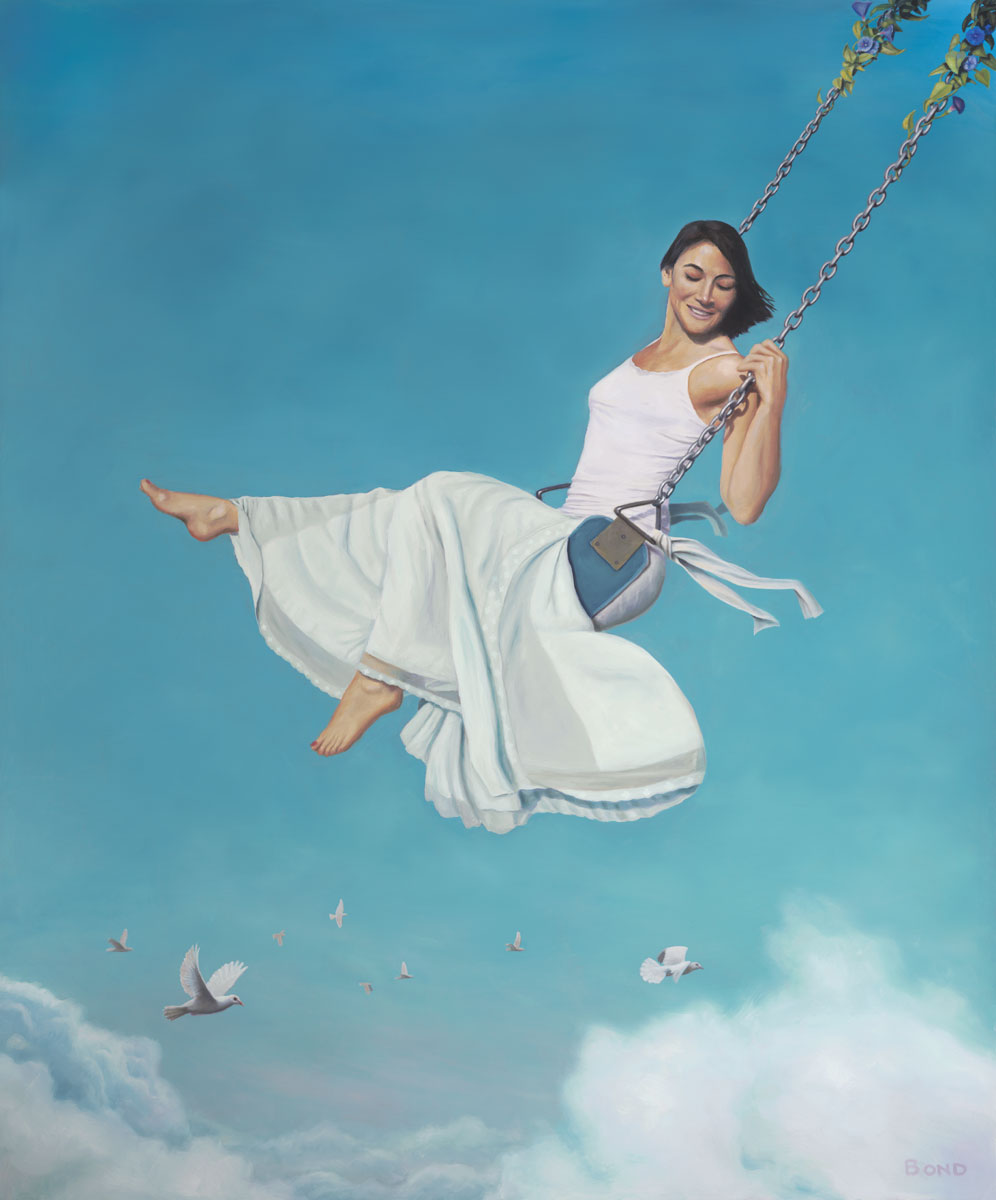 Big Push, painting of a woman swinging in the clouds with white doves,  art with girl in white, art with woman on a swing, painting of sky, art with high swing floating, art meaning with grace risk courage laughing, art with doves, art wtih birds and clouds, soulful uplifting inspirational art, soul stirring illusion art, romantic art,  surrealism, surreal art, dreamlike imagery, fanciful art, fantasy art, dreamscape visual, metaphysical art, spiritual painting, metaphysical painting, spiritual art, whimsical art, whimsy art, dream art, fantastic realism art, limited edition giclee, signed art print, fine art reproduction, original magic realism oil painting by Paul Bond
