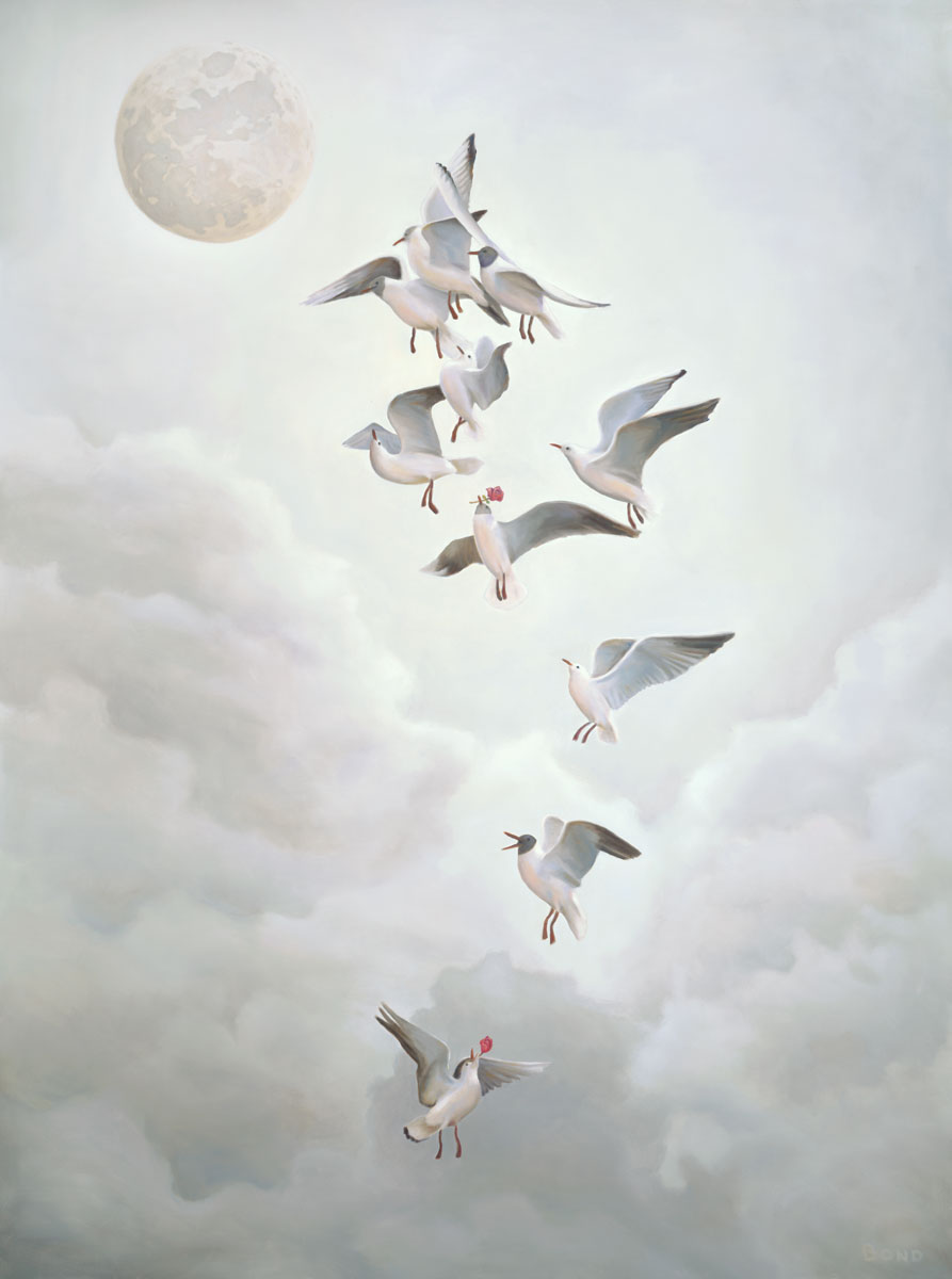 Courting the Moon, painting of seagulls courting the moon with roses, art with ceremony, art with ritual, art with the moon, painting with seagulls flying, lunar love, art meaning about courtship, soulful uplifting inspirational art, soul stirring illusion art, romantic art,  surrealism, surreal art, dreamlike imagery, fanciful art, fantasy art, dreamscape visual, metaphysical art, spiritual painting, metaphysical painting, spiritual art, whimsical art, whimsy art, dream art, fantastic realism art, limited edition giclee, signed art print, fine art reproduction, original magic realism oil painting by Paul Bond