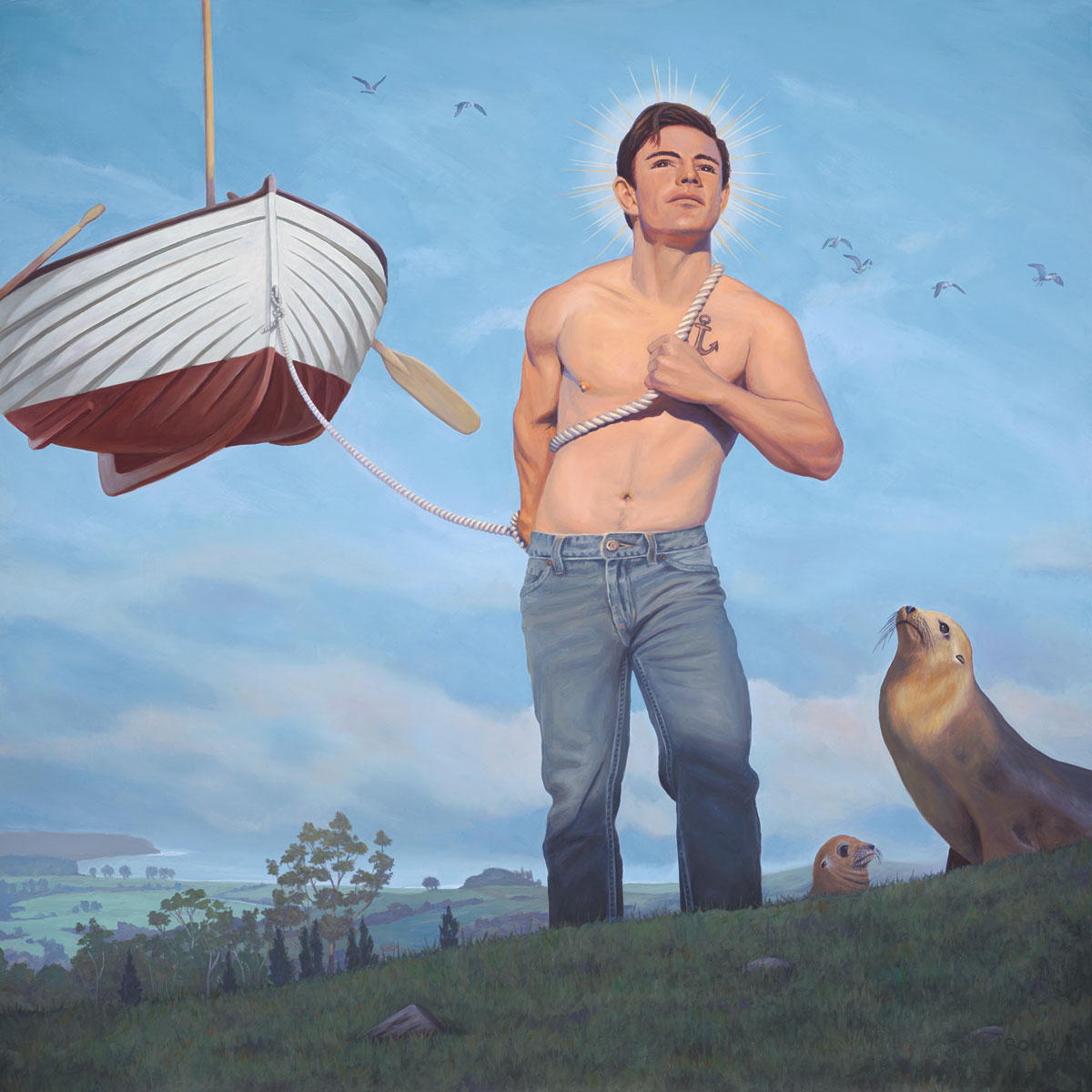 Daniel, Patron Saint of Wayward Mariners, painting of a man pulling a floating boat, allegory, time, illusion, boy, saint, hero, sky, water, ocean, seal, sea lion, birds, floating, waves, wings, boat, love, strong, transformation, desire, power, strength, wisdom, kindness, natural, trompe l'oeil, soulful uplifting inspirational art, soul stirring illusion art, romantic art,  surrealism, surreal art, dreamlike imagery, fanciful art, fantasy art, dreamscape visual, metaphysical art, spiritual painting, metaphysical painting, spiritual art, whimsical art, whimsy art, dream art, fantastic realism art, limited edition giclee, signed art print, fine art reproduction, original magic realism oil painting by Paul Bond