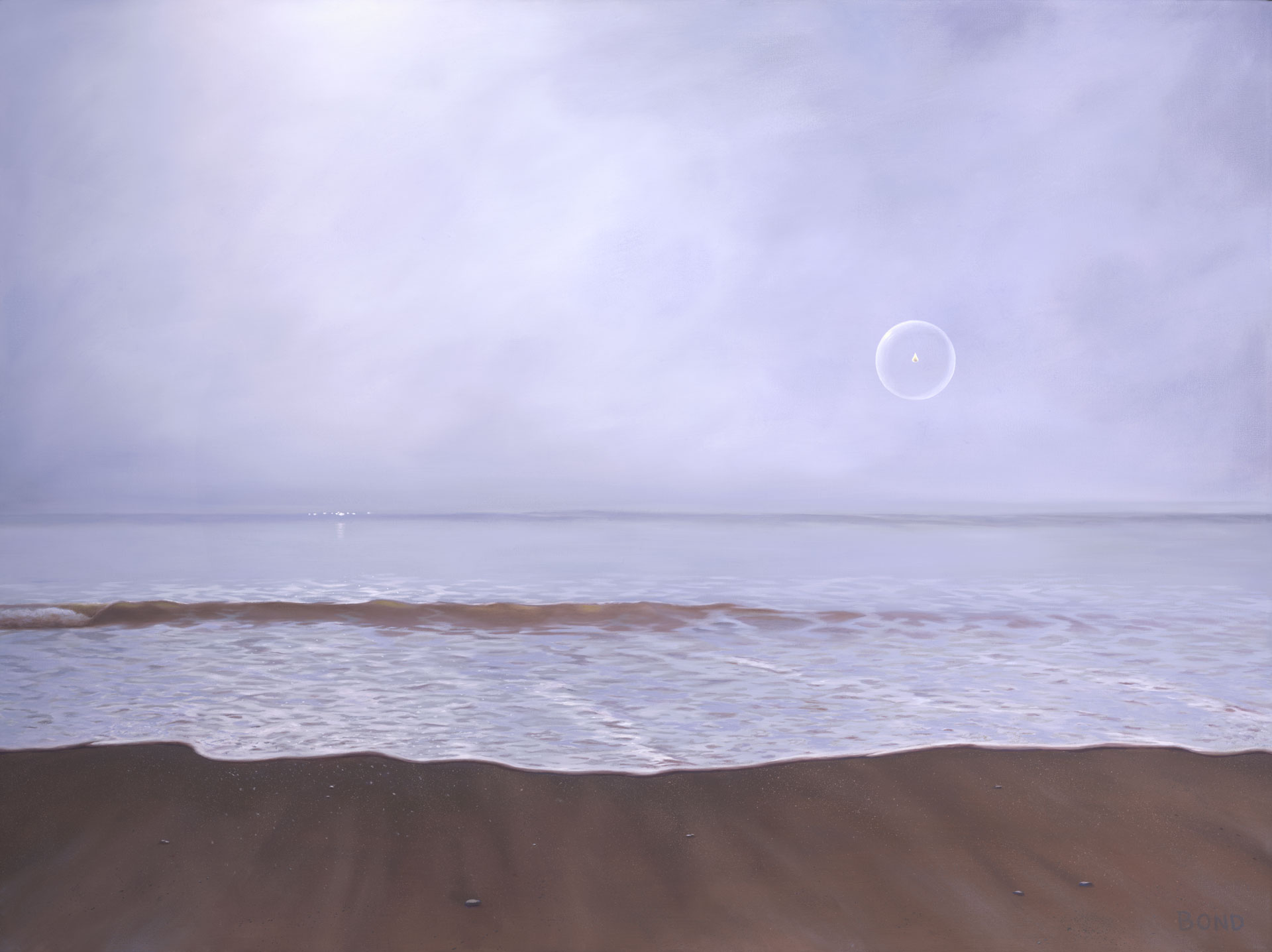 Dreaming Of Life On Another Shore, painting of a shoreline with a single flame floating away in a bubble, painting about death, art about hospice, art about life after death, afterlife painting, light, flame, trompe l'oeil, soulful uplifting inspirational art, soul stirring illusion art, romantic art,  surrealism, surreal art, dreamlike imagery, fanciful art, fantasy art, dreamscape visual, metaphysical art, spiritual painting, metaphysical painting, spiritual art, whimsical art, whimsy art, dream art, fantastic realism art, magic realism oil painting by Paul Bond