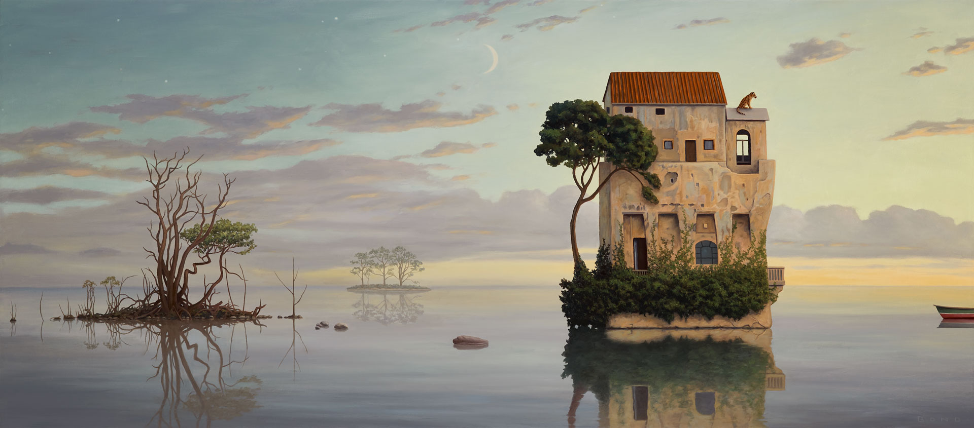 In the Waning Days of the Solitude, painting of Italian villa atop an island, art about meditation, painting meaning quarantine, positive art, art with boat, ocean with sunset sky painting, art with clouds and trees, art with water reflection, painting with the sea, magic realism art of tree, painting of Covid, Covid-19, Coronavirus related art, surreal art with tiger, painting with nature, peaceful art, painting about courage, Bengal tiger, soulful uplifting inspirational art, soul stirring illusion art, romantic art,  surrealism, surreal art, dreamlike imagery, fanciful art, fantasy art, dreamscape visual, metaphysical art, spiritual painting, metaphysical painting, spiritual art, whimsical art, whimsy art, dream art, fantastic realism art, limited edition giclee, signed art print, fine art reproduction, original magic realism oil painting by Paul Bond