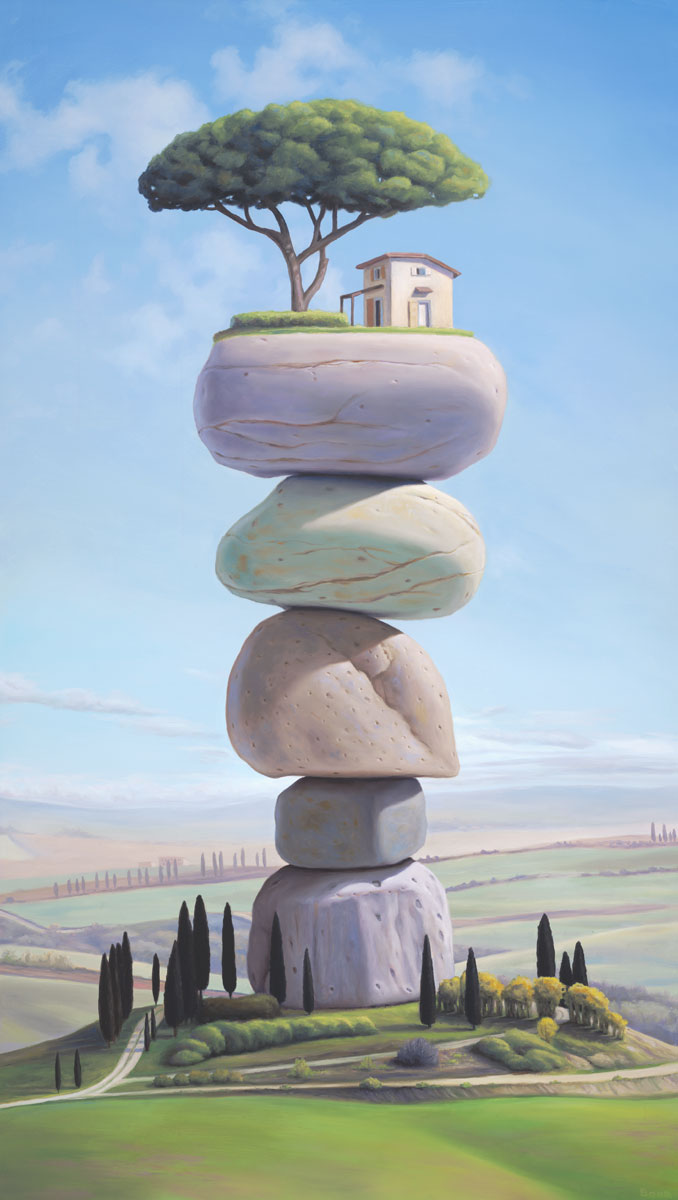 L'isola, painting of Tuscan farmhouse sitting on top of stacked stones, painting of stacked rock cairn on farmland in Italy, art with cairn on island, art dreaming of Tuscany Italy, soulful uplifting inspirational art, soul stirring illusion art, romantic art,  surrealism, surreal art, dreamlike imagery, fanciful art, fantasy art, dreamscape visual, metaphysical art, spiritual painting, metaphysical painting, spiritual art, whimsical art, whimsy art, dream art, fantastic realism art, limited edition giclee, signed art print, fine art reproduction, original magic realism oil painting by Paul Bond