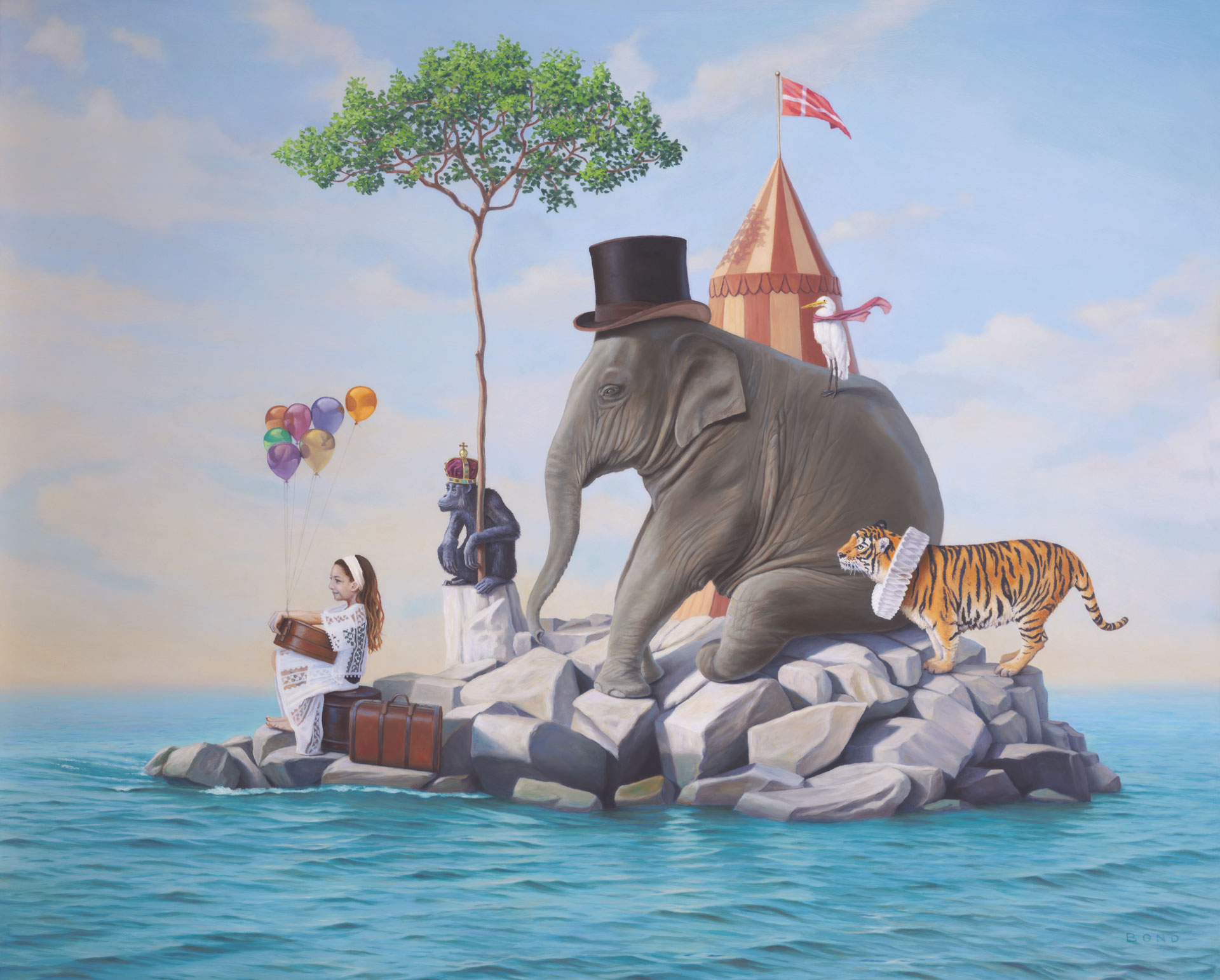 McKena's Bittersweet Departure from the Island of Happiness, painting of a little girl with circus animals, painting of circus floating on an island, painting with girl on rocks, art with monkey chimpanzee, elephant, art with crane ibis heron bird, tiger, art with circus tent, painting about love and  play, art about imagination, painting with luggage, painting with suitcase, art with ocean, sea, water, island, sky, painting about departure, painting with child, art about lost childhood, painting about growing up, painting meaning happy, joy, positive,soulful uplifting inspirational art, soul stirring illusion art, romantic art,  surrealism, surreal art, dreamlike imagery, fanciful art, fantasy art, dreamscape visual, metaphysical art, spiritual painting, metaphysical painting, spiritual art, whimsical art, whimsy art, dream art, fantastic realism art, limited edition giclee, signed art print, fine art reproduction, original magic realism oil painting by Paul Bond