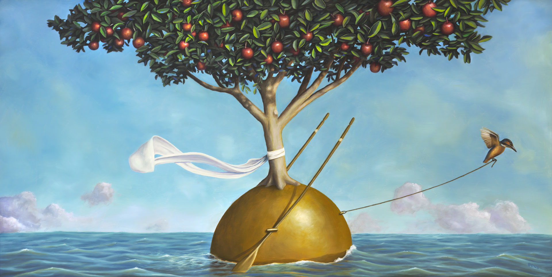 Passage of the Wisdom Keeper, painting of a kingfisher bird pulling an apple tree wearing a scarf with rope through the ocean, wisdom, apple, tree, sea, waves, oars, scarf, bird, kingfisher, orb, clouds, trompe l'oeil, soulful uplifting inspirational art, soul stirring illusion art, romantic art,  surrealism, surreal art, dreamlike imagery, fanciful art, fantasy art, dreamscape visual, metaphysical art, spiritual painting, metaphysical painting, spiritual art, whimsical art, whimsy art, dream art, fantastic realism art, limited edition giclee, signed art print, fine art reproduction, original magic realism oil painting by Paul Bond