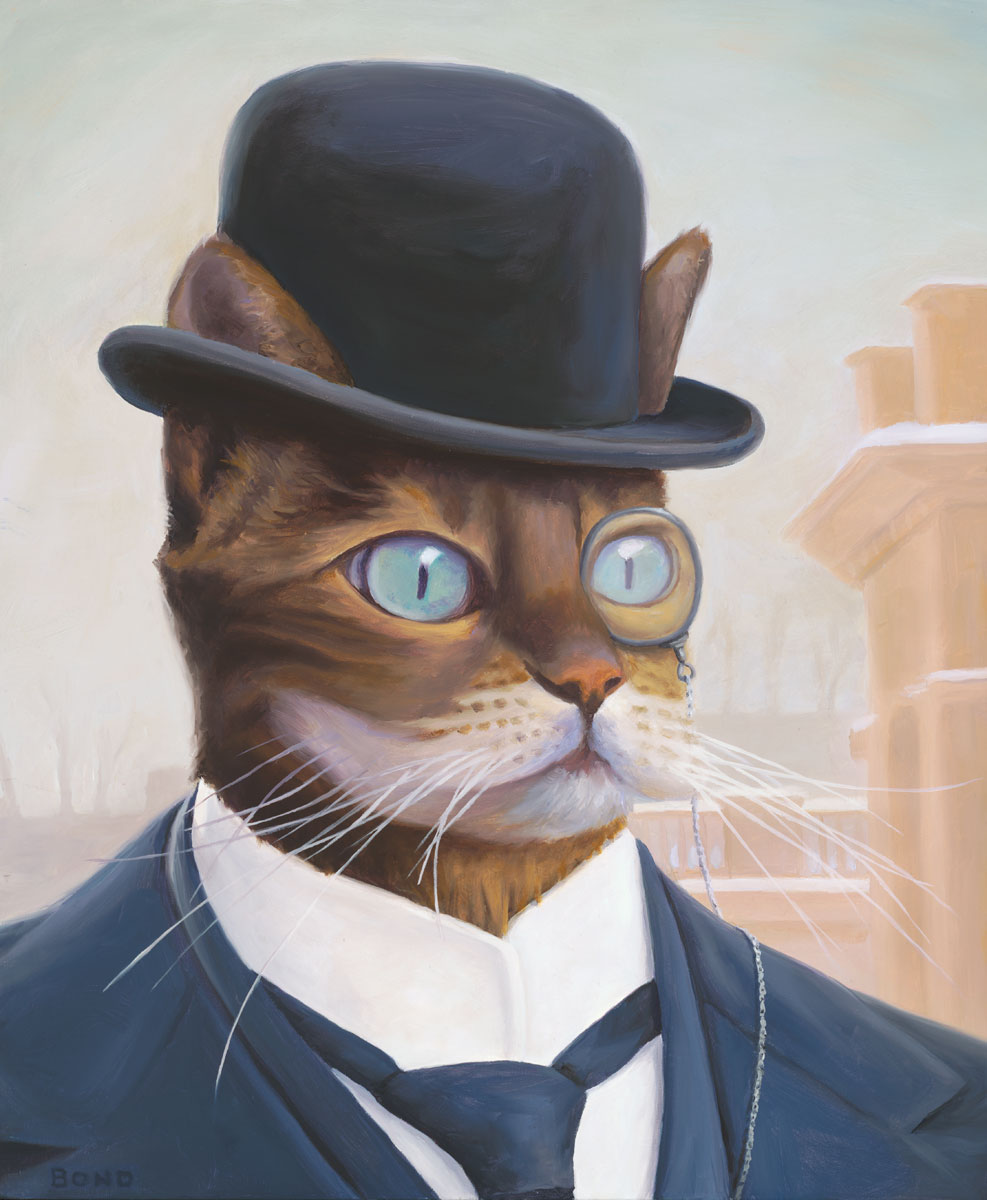 Portrait of a 19th Century Industrialist, painting of a cat dressed like a 19th century industrialist, painting of male cat wearing a monacle and bowler hat, Portrait of an animal, painting with steampunk industry, juxtapose art, soulful uplifting inspirational art, soul stirring illusion art, romantic art,  surrealism, surreal art, dreamlike imagery, fanciful art, fantasy art, dreamscape visual, metaphysical art, spiritual painting, metaphysical painting, spiritual art, whimsical art, whimsy art, dream art, fantastic realism art, limited edition giclee, signed art print, fine art reproduction, original magic realism oil painting by Paul Bond