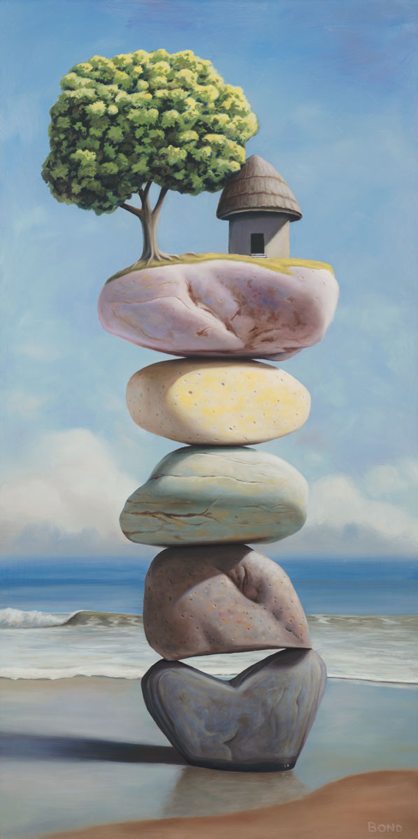 Rooted in the Years of Uncertainty, painting of stacked stones on the beach with a pagoda tree, art with small grass hut on top of cairn, art with stacked stones and rocks, art meaning balance, picture with beach ocean surf, painting of heart shaped rock, soulful uplifting inspirational art, soul stirring illusion art, romantic art,  surrealism, surreal art, dreamlike imagery, fanciful art, fantasy art, dreamscape visual, metaphysical art, spiritual painting, metaphysical painting, spiritual art, whimsical art, whimsy art, dream art, fantastic realism art, limited edition giclee, signed art print, fine art reproduction, original magic realism oil painting by Paul Bond