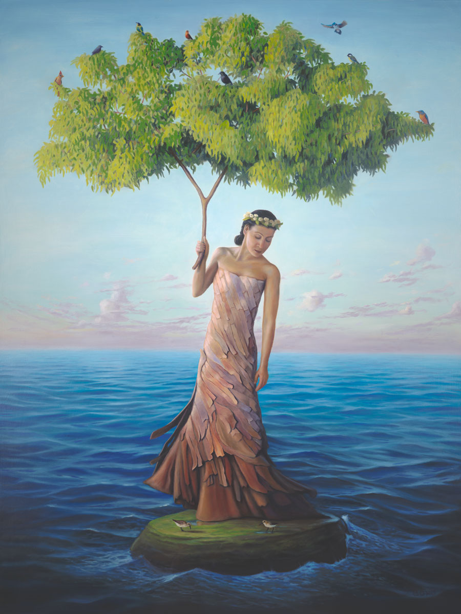 Sanctuary, painting of a eucalyptus tree as a woman, painting of a woman wearing a tree bark dress holding a eucalyptus tree branch surrounded by ocean waves and clouds, painting of a woman on an island in the ocean surrounded by sea waves, painting about refuge, soulful uplifting inspirational art, soul stirring illusion art, romantic art,  surrealism, surreal art, dreamlike imagery, fanciful art, fantasy art, dreamscape visual, metaphysical art, spiritual painting, metaphysical painting, spiritual art, whimsical art, whimsy art, dream art, fantastic realism art, limited edition giclee, signed art print, fine art reproduction, original magic realism oil painting by Paul Bond