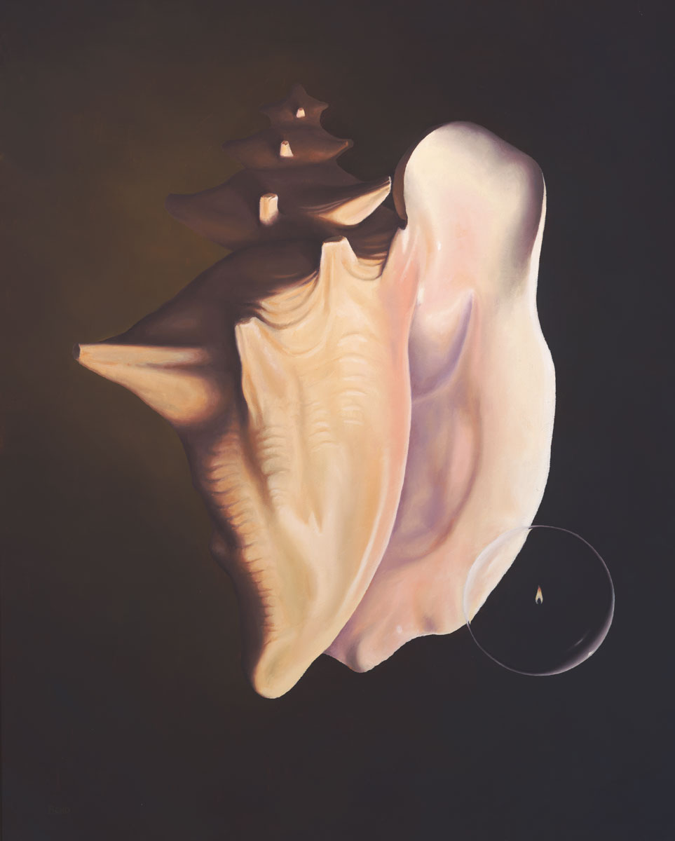 Second Coming, painting of a conch shell with a flame inside a bubble floating away from a conch shell, art about Jesus second coming, art with light bubbles, soulful uplifting inspirational art, soul stirring illusion art, romantic art,  surrealism, surreal art, dreamlike imagery, fanciful art, fantasy art, dreamscape visual, metaphysical art, spiritual painting, metaphysical painting, spiritual art, whimsical art, whimsy art, dream art, fantastic realism art, magic realism oil painting by Paul Bond