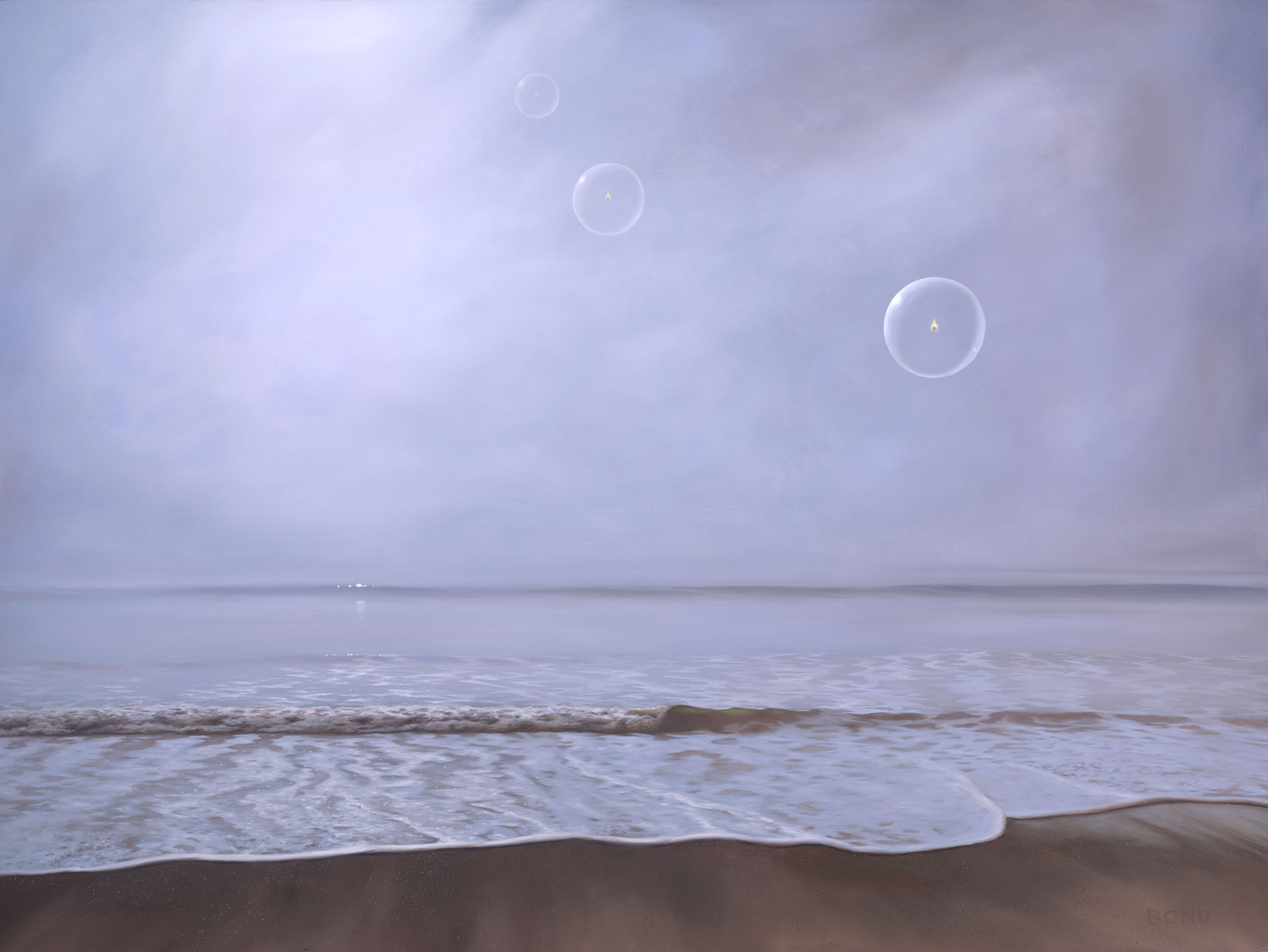 Sojourn, painting of a foggy beach with three floating bubbles with flickering flames inside, painting about death, art meaning hospice, art about life after death, painting depicting the afterlife, painting with orbs, misty ocean scene, soulful uplifting inspirational art, soul stirring illusion art, romantic art,  surrealism, surreal art, dreamlike imagery, fanciful art, fantasy art, dreamscape visual, metaphysical art, spiritual painting, metaphysical painting, spiritual art, whimsical art, whimsy art, dream art, fantastic realism art, limited edition giclee, signed art print, fine art reproduction, original magic realism oil painting by Paul Bond