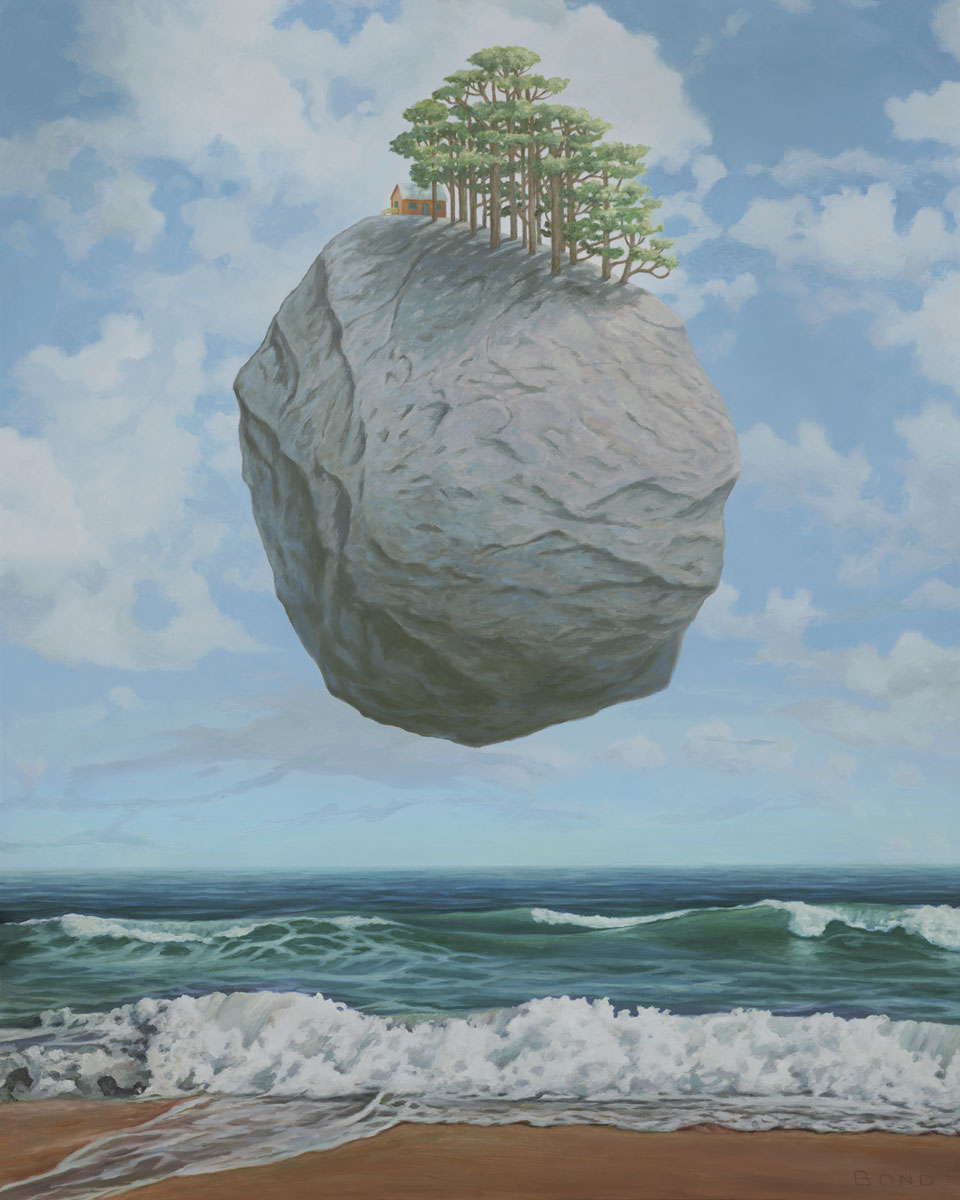 Something Unprecedented, painting of a rock floating in the sky, Rene Magritte art, painting about global warming, art about ecology, painting meaning conservation, art about caring for the earth, granite boulder art, castle of the Pyrenees art, art with redwood forest, cabin in the woods, art with ocean, painting of sea and sky, magic realism art of levitating stone, climate change art, painting of climate crisis, Silent Running movie, painting with clouds, ocean waves, surreal art about saving the planet, painting with nature, peaceful art, painting of the earth, soulful uplifting inspirational art, soul stirring illusion art, romantic art,  surrealism, surreal art, dreamlike imagery, fanciful art, fantasy art, dreamscape visual, metaphysical art, spiritual painting, metaphysical painting, spiritual art, whimsical art, whimsy art, dream art, fantastic realism art, limited edition giclee, signed art print, fine art reproduction, original magic realism oil painting by Paul Bond