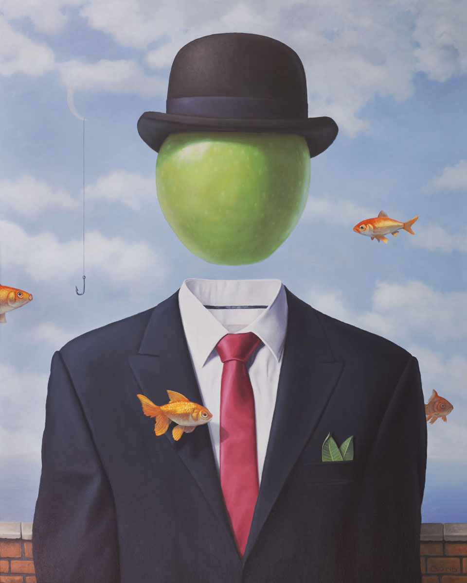 The Buoyant Irony of Man's Search for Meaning, painting of an apple floating in the sky, Rene Magritte art, painting about global purpose, art about meaning of life, painting of man in suit with bowler hat, art about having fun, goldfish art, floating fish art, art with the moon, art with green apple, painting of sea and sky, magic realism art of floating head, fishing hook art, painting of fish hook, painting with clouds, brick wall art, surreal painting with nature, peaceful art, soulful uplifting inspirational art, soul stirring illusion art, romantic art,  surrealism, surreal art, dreamlike imagery, fanciful art, fantasy art, dreamscape visual, metaphysical art, spiritual painting, metaphysical painting, spiritual art, whimsical art, whimsy art, dream art, fantastic realism art, limited edition giclee, signed art print, fine art reproduction, original magic realism oil painting by Paul Bond
