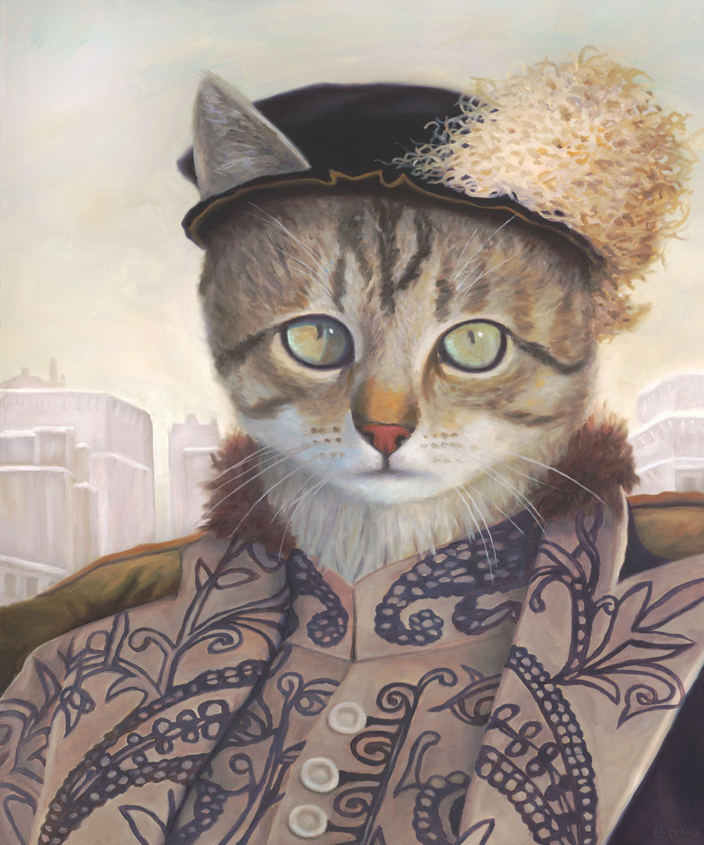 The Carriage Ride, Circa 1890 painting of a leisurely cat wearing upper class attire, animal  portrait, painting about wealthy upper class, painting set in 19th Century, steampunk industry, juxtapose art, art with cat kitty kitten, art with hat and feather, soulful uplifting inspirational art, soul stirring illusion art, romantic art,  surrealism, surreal art, dreamlike imagery, fanciful art, fantasy art, dreamscape visual, metaphysical art, spiritual painting, metaphysical painting, spiritual art, whimsical art, whimsy art, dream art, fantastic realism art, limited edition giclee, signed art print, fine art reproduction, original magic realism oil painting by Paul Bond