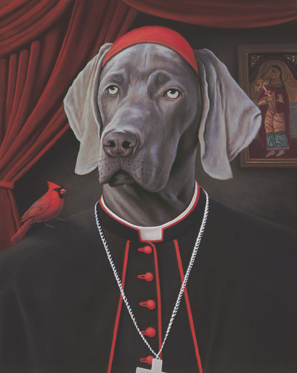 The Emissaries, painting of a weimaraner dog dressed like a cardinal, painting with red  cardinal bird, art with catholic priests, pious, painting about religion and love, painting meaning happy positive joyful state of being, art abour unconditional love of pet, soulful uplifting inspirational art, soul stirring illusion art, romantic art,  surrealism, surreal art, dreamlike imagery, fanciful art, fantasy art, dreamscape visual, metaphysical art, spiritual painting, metaphysical painting, spiritual art, whimsical art, whimsy art, dream art, fantastic realism art, limited edition giclee, signed art print, fine art reproduction, original magic realism oil painting by Paul Bond