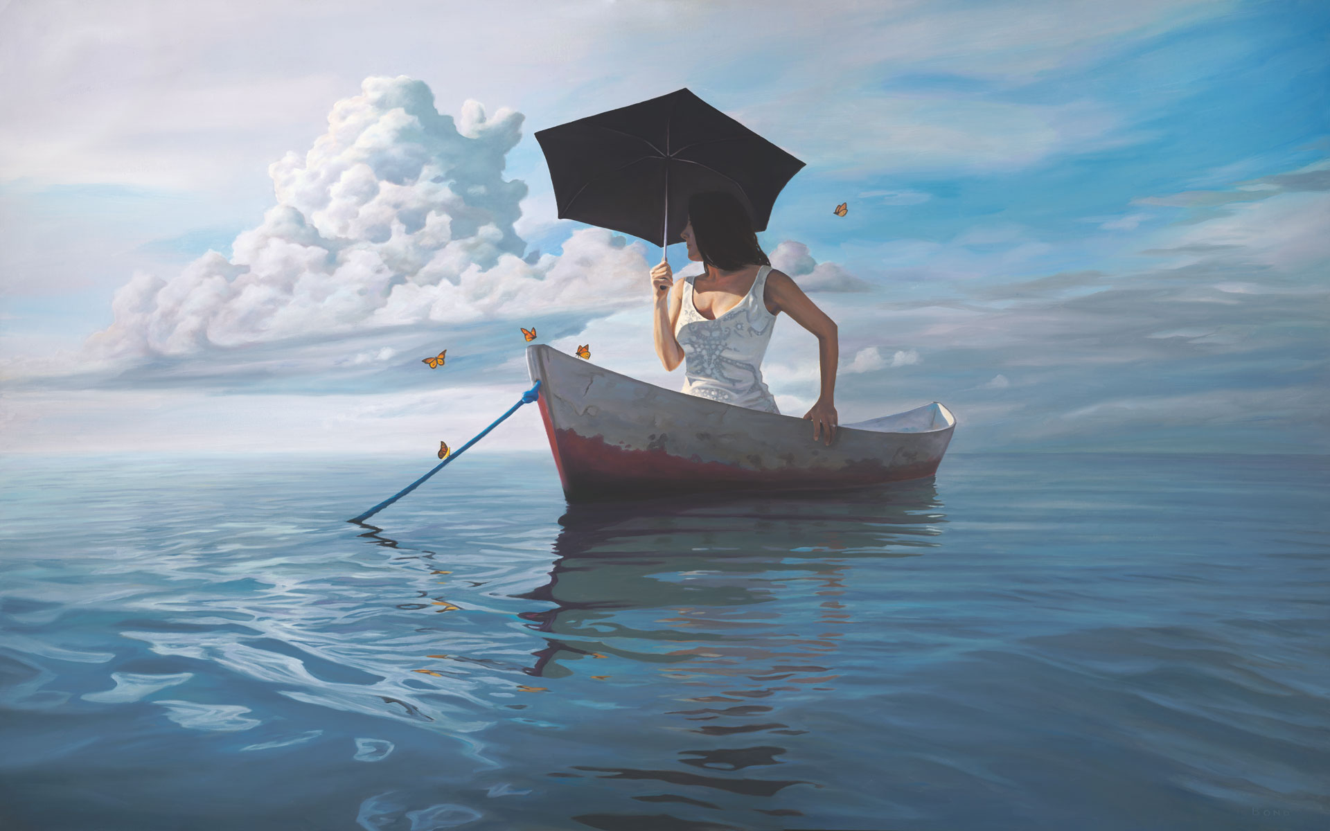 The Girl Who Married a Cloud, painting of a woman wearing a white wedding dress in row boat, art with butterflies surrounding a woman, portrait of a girl woman in a canoe boat, art with water, ocean, waves, painting of girl with umbrella, art about idealism, art about marriage and relationship, soulful uplifting inspirational art, soul stirring illusion art, romantic art,  surrealism, surreal art, dreamlike imagery, fanciful art, fantasy art, dreamscape visual, metaphysical art, spiritual painting, metaphysical painting, spiritual art, whimsical art, whimsy art, dream art, fantastic realism art, limited edition giclee, signed art print, fine art reproduction, original magic realism oil painting by Paul Bond