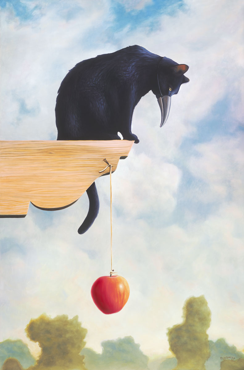 The Kindest Premeditation, painting of a black cat pretending to be a bird, art of cat wearing a bird beak peering over the ledge, painting with danlging apple on a string, painting about deception deceipt and trickery, art about lies, picure with bird beak, kitty with an apple, soulful uplifting inspirational art, soul stirring illusion art, romantic art,  surrealism, surreal art, dreamlike imagery, fanciful art, fantasy art, dreamscape visual, metaphysical art, spiritual painting, metaphysical painting, spiritual art, whimsical art, whimsy art, dream art, fantastic realism art, limited edition giclee, signed art print, fine art reproduction, original magic realism oil painting by Paul Bond
