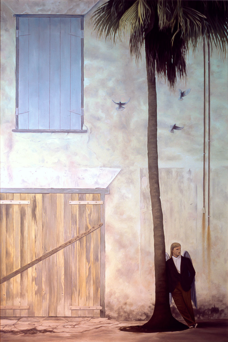 The Longing, painting of man leaning against a palm tree next to a building with a blue window, art with handsome man, art with guardian angel, guard house, door, window, soulful uplifting inspirational art, soul stirring illusion art, romantic art,  surrealism, surreal art, dreamlike imagery, fanciful art, fantasy art, dreamscape visual, metaphysical art, spiritual painting, metaphysical painting, spiritual art, whimsical art, whimsy art, dream art, fantastic realism art, magic realism oil painting by Paul Bond