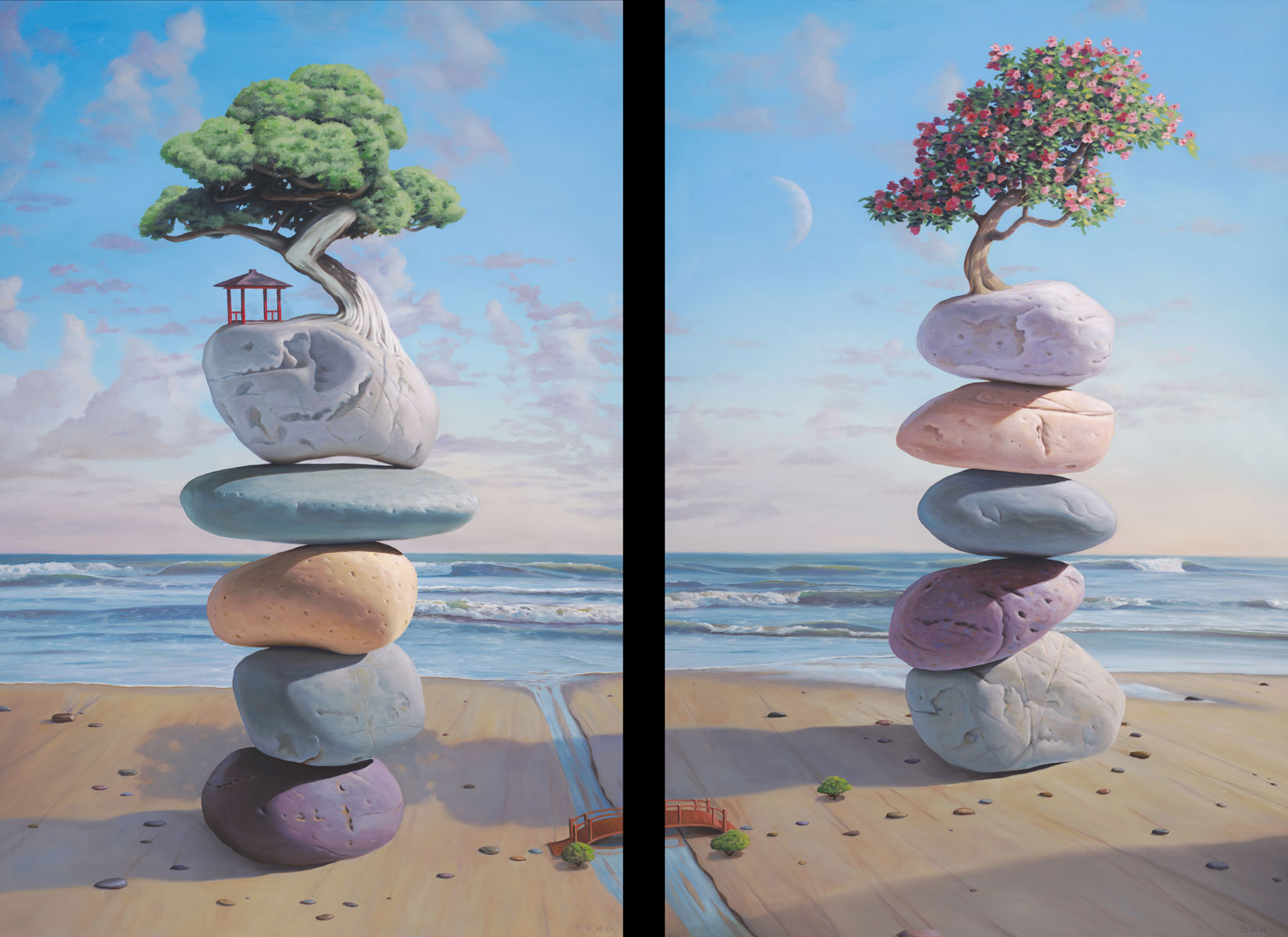 The Lovers,  diptych painting of stacked rocks connected by a bridge over a stream, painting with male and female essence, stacked stones with shelter and flowers on tree painting about home is where the heart is, art about growth and expansion, ocean, sea, sand, wave, water, rock, stone, balance, art with cairn balancing stones, bridge, path, tree, bonsai, beach, manifest, cherry blossom, cherry tree, moon, soulful uplifting inspirational art, soul stirring illusion art, romantic art,  surrealism, surreal art, dreamlike imagery, fanciful art, fantasy art, dreamscape visual, metaphysical art, spiritual painting, metaphysical painting, spiritual art, whimsical art, whimsy art, dream art, fantastic realism art, limited edition giclee, signed art print, fine art reproduction, original magic realism oil painting by Paul Bond