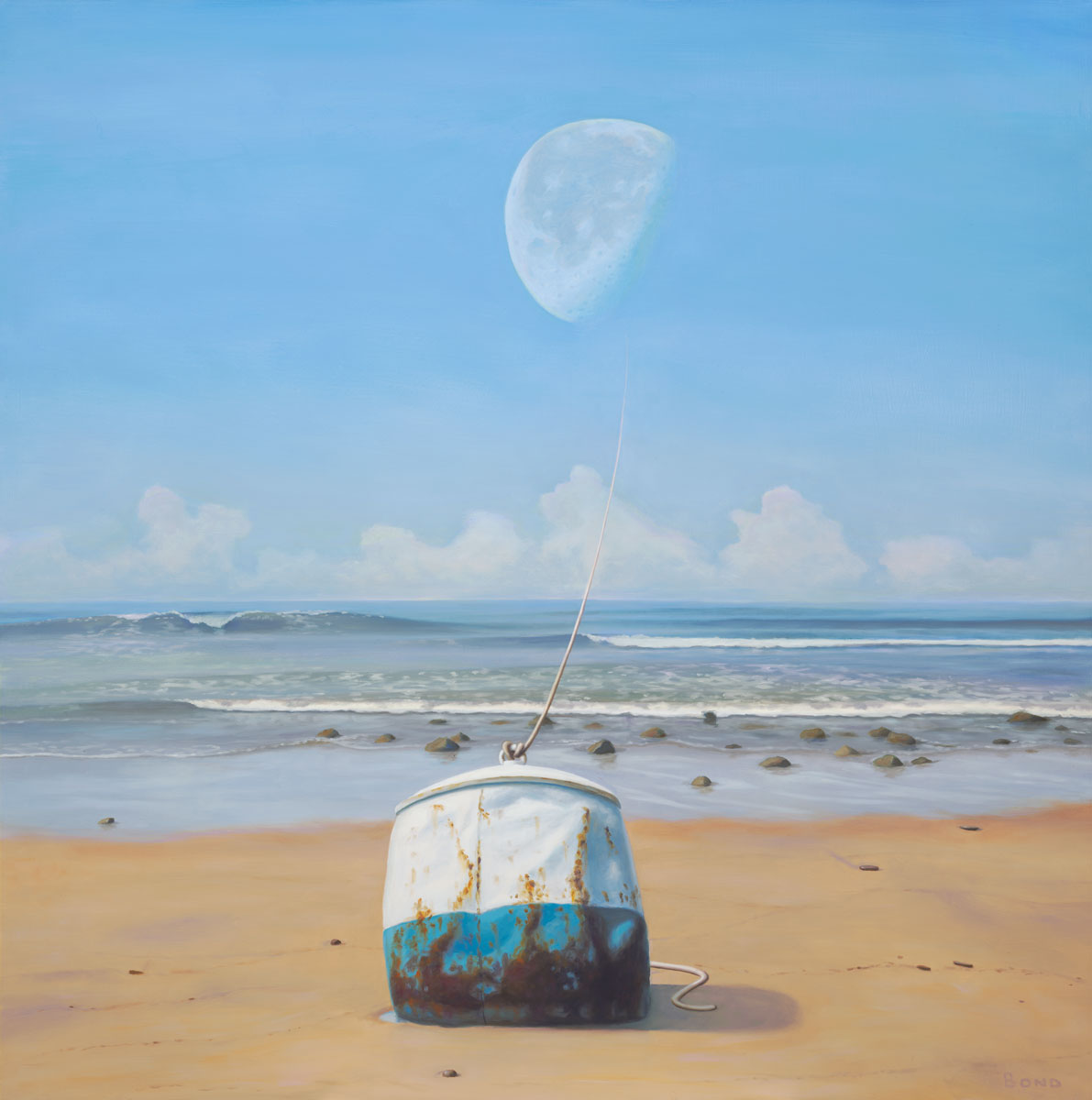 The mooring, painting of a rusted buoy sitting on the edge of the sand with a rope that goes up to the moon, mooring, tied, art with moon, rope, ship, rusty, beach, dream, art about love and companionship, ocean, sea, illustion, buoy, floating, drift, optical illustion, waves, surf, sand, moon, lunar, orbit, tethered, trompe l'oeil, soulful uplifting inspirational art, soul stirring illusion art, art with poetry, romantic art,  surrealism, surreal art, dreamlike imagery, fanciful art, fantasy art, dreamscape visual, metaphysical art, spiritual painting, metaphysical painting, spiritual art, whimsical art, whimsy art, dream art, fantastic realism art, limited edition giclee, signed art print, fine art reproduction, original magic realism oil painting by Paul Bond