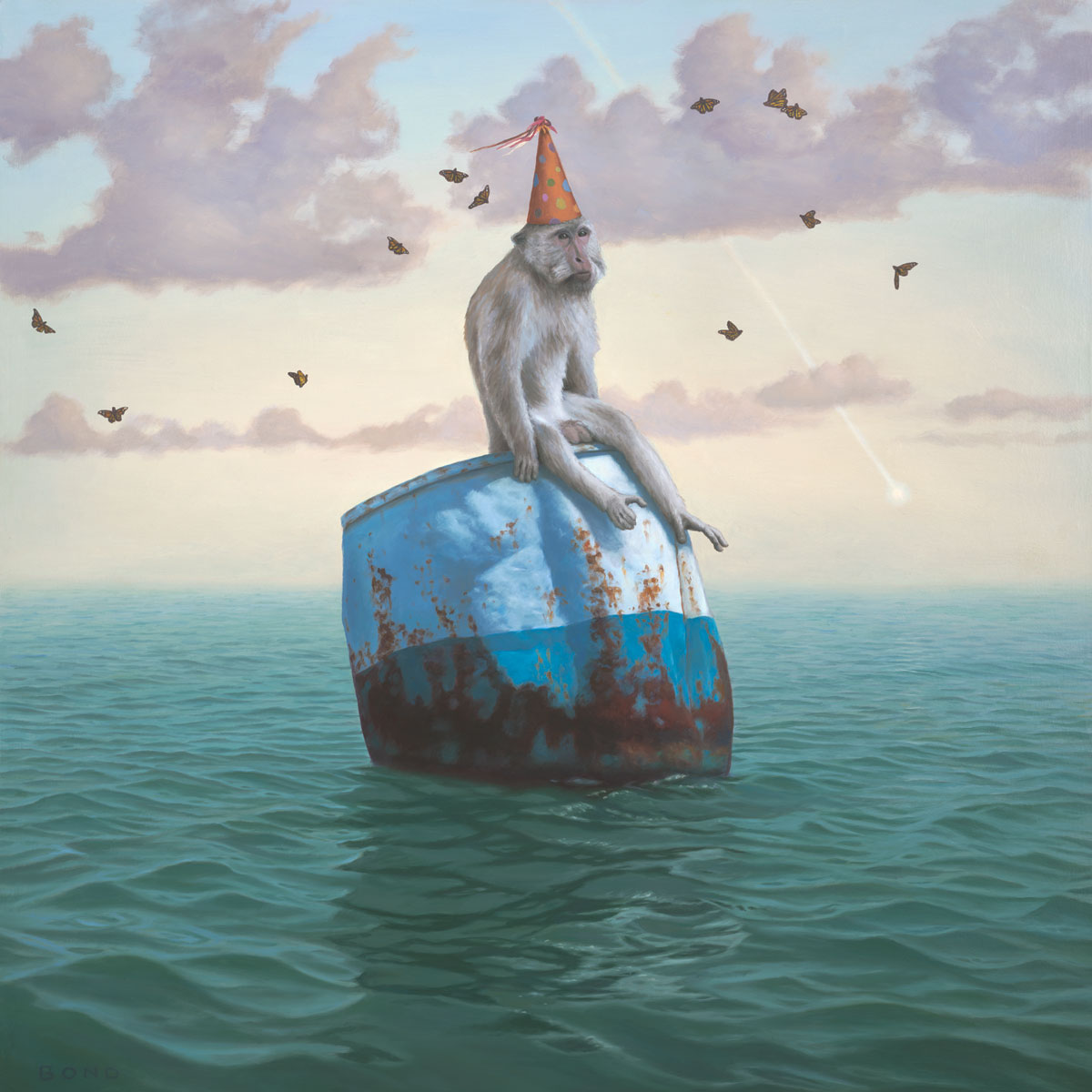 The Remarkable Circumstantial Adaptability of Man, painting of a monkey wearing a party hat floating on a barrel in the ocean,  art with long tailed macaque, art about happiness, adapt, happy, joy, positive, art with butterfly, butterflies, sky, cloud, water, ocean, waves, buoy, monkey, long-tailed macaques, art with comet meteor, omen, fate, chance, hope, party hat, birthday, float, nature, soulful uplifting inspirational art, soul stirring illusion art, romantic art,  surrealism, surreal art, dreamlike imagery, fanciful art, fantasy art, dreamscape visual, metaphysical art, spiritual painting, metaphysical painting, spiritual art, whimsical art, whimsy art, dream art, fantastic realism art, limited edition giclee, signed art print, fine art reproduction, original magic realism oil painting by Paul Bond