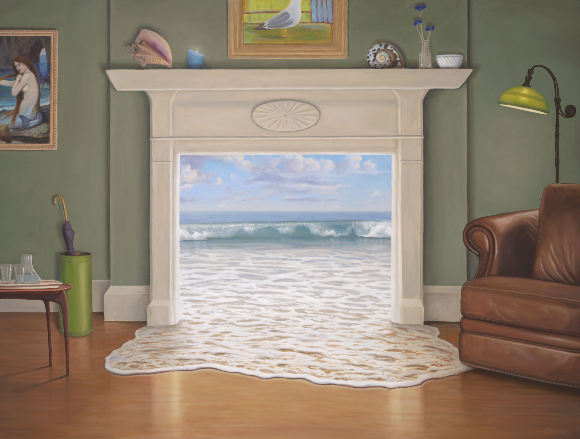 The Waterhouse, painting of the ocean coming through the fireplace into the living room, dreaming, ocean, art with waves surfing, sea, illusion, John William Waterhouse, mermaid, seagull, leather chair, living room, atr about beach living, manifest, shell, umbrella, foam, wood floor, lamp, trompe l'oeil, soulful uplifting inspirational art, soul stirring illusion art, romantic art,  surrealism, surreal art, dreamlike imagery, fanciful art, fantasy art, dreamscape visual, metaphysical art, spiritual painting, metaphysical painting, spiritual art, whimsical art, whimsy art, dream art, fantastic realism art, limited edition giclee, signed art print, fine art reproduction, original magic realism oil painting by Paul Bond