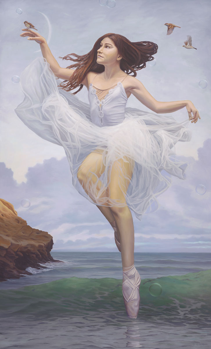To hear the softly spoken magic spell painting of a woman floating with bubbles and