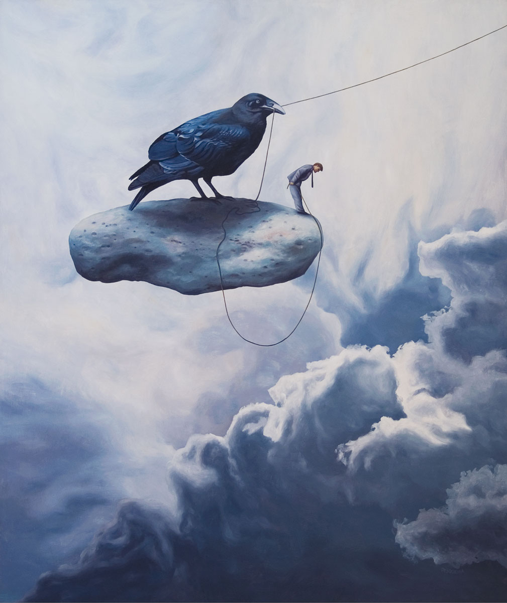 Unexpected Departure, painting of a man and a raven bird standing on stone floating in the sky, art about 9-11, september 11, world trade center,ruble, art with raven crow blackbird, death, sudden, afterlife, trompe l'oeil,soulful uplifting inspirational art, soul stirring illusion art, romantic art, painting of clouds, surrealism, surreal art, dreamlike imagery, fanciful art, fantasy art, dreamscape visual, metaphysical art, spiritual painting, metaphysical painting, spiritual art, whimsical art, whimsy art, dream art, fantastic realism art, limited edition giclee, signed art print, fine art reproduction, original magic realism oil painting by Paul Bond