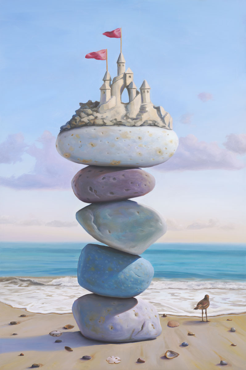 Waiting for Camelot, painting of a sandcastle sitting atop stacked stones on the beach with seashells and sea bird on the ground, sandcastle, castle, art with sandpiper bird, art with stacked stones, cairn, rocks, paintings about balance, sky, change, art about love and longing, dreaming, spiral, shell, seashell, sand, ocean, beach, waves, water, structure, precarious, balance, clouds, courage, release, soulful uplifting inspirational art, soul stirring illusion art, romantic art,  surrealism, surreal art, dreamlike imagery, fanciful art, fantasy art, dreamscape visual, metaphysical art, spiritual painting, metaphysical painting, spiritual art, whimsical art, whimsy art, dream art, fantastic realism art, limited edition giclee, signed art print, fine art reproduction, original magic realism oil painting by Paul Bond