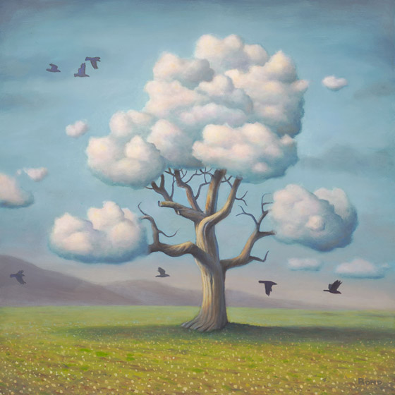 A Conspiracy of Nature, painting of a tree with cloud branches and birds flying around,  art includes sky, clouds, trees, flying, nature, art with raven crow, soulful uplifting inspirational art, soul stirring illusion art, romantic art,  surrealism, surreal art, dreamlike imagery, fanciful art, fantasy art, dreamscape visual, metaphysical art, spiritual painting, metaphysical painting, spiritual art, whimsical art, whimsy art, dream art, fantastic realism art, limited edition giclee, signed art print, fine art reproduction, original magic realism oil painting by Paul Bond