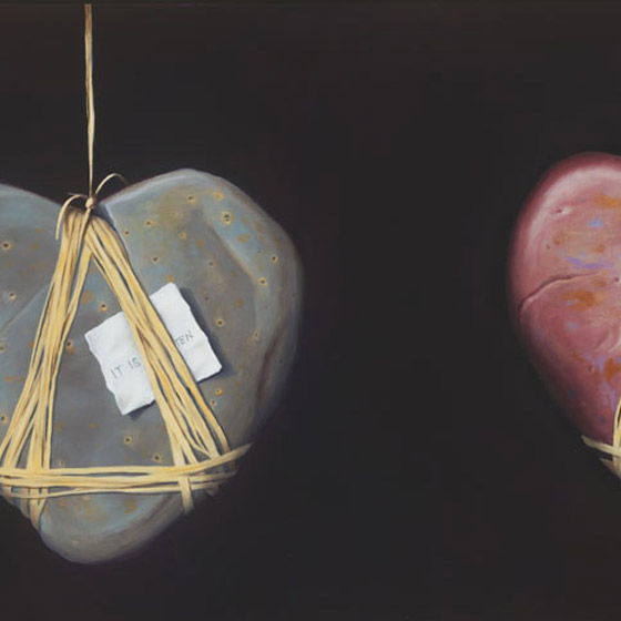 A Discourse on Love, painting of heart stone suspended in air by twine with butterfly and a love note, art elements are heart shaped rock, heart stone, suspended, butterfly,  painting, soulful uplifting inspirational art, soul stirring illusion art, romantic art,  surrealism, surreal art, dreamlike imagery, fanciful art, fantasy art, dreamscape visual, metaphysical art, spiritual painting, metaphysical painting, spiritual art, whimsical art, whimsy art, dream art, fantastic realism art, limited edition giclee, signed art print, fine art reproduction, original magic realism oil painting by Paul Bond