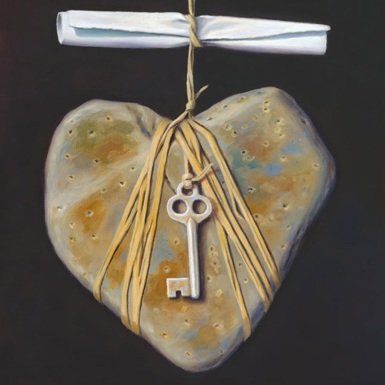An Invitation to the Intimate, art with love story, painting of a heart-shaped stone dangling from twine beneath a scrolled love letter, art with a tied key, art with heartstone heart shaped rock, painting with suspended skeleton key, painting about intimacy, painting about engaged relationship, art abuot engagemente, art about invitation, soulful uplifting inspirational art, soul stirring illusion art, romantic art,  surrealism, surreal art, dreamlike imagery, fanciful art, fantasy art, dreamscape visual, metaphysical art, spiritual painting, metaphysical painting, spiritual art, whimsical art, whimsy art, dream art, fantastic realism art, limited edition giclee, signed art print, fine art reproduction, original magic realism oil painting by Paul Bond