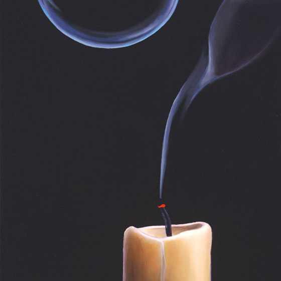 Departure, painting of candle with flame floating away from candle in bubble as smoke lingers on wick, death, dreaming, candle, smoke, extinguish, flame, bubble, light, hope, reincarnation, afterlife, eternal, eternal life, floating, comfort, trompe l'oeil, soulful uplifting inspirational art, soul stirring illusion art, romantic art,  surrealism, surreal art, dreamlike imagery, fanciful art, fantasy art, dreamscape visual, metaphysical art, spiritual painting, metaphysical painting, spiritual art, whimsical art, whimsy art, dream art, fantastic realism art, magic realism oil painting by Paul Bond