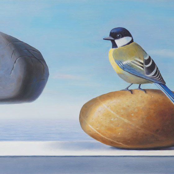 Envy, painting of a bird sitting on a rock staring at a floating rock, painting with ocean sea background, art with bird and rocks, painting with floating stones, art meaning folly, art about being envious, soulful uplifting inspirational art, soul stirring illusion art, romantic art,  surrealism, surreal art, dreamlike imagery, fanciful art, fantasy art, dreamscape visual, metaphysical art, spiritual painting, metaphysical painting, spiritual art, whimsical art, whimsy art, dream art, fantastic realism art, limited edition giclee, signed art print, fine art reproduction, original magic realism oil painting by Paul Bond