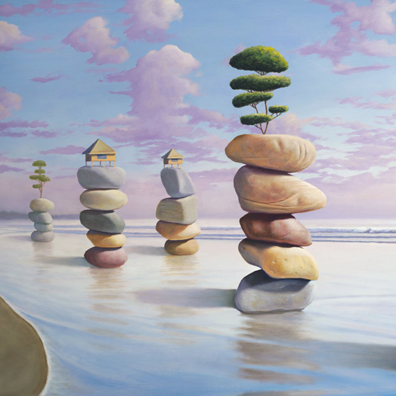 Happiness By Design, painting of five stacked stone cairns in the ocean, stones with trees and huts atop them, art meaning about wisdom happiness zen balance joy community, art with abstract homes and huts, art with imaginary houses, painting with trees on the  beach, art with ocean water and waves, painting with clouds,soulful uplifting inspirational art, soul stirring illusion art, romantic art,  surrealism, surreal art, dreamlike imagery, fanciful art, fantasy art, dreamscape visual, metaphysical art, spiritual painting, metaphysical painting, spiritual art, whimsical art, whimsy art, dream art, fantastic realism art, limited edition giclee, signed art print, fine art reproduction, original magic realism oil painting by Paul Bond