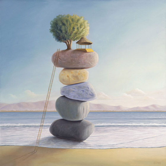 Happiness In Perpetuity, painting of tree hut perched on stacked stones, painting of cairn on the water at beach with ladder and tree, painting about wisdom happiness zen balance joy community, painting with home with a view, art wtih abstract huts, art with trees beach ocean and water, art with waves, painting with clouds, soulful uplifting inspirational art, soul stirring illusion art, romantic art,  surrealism, surreal art, dreamlike imagery, fanciful art, fantasy art, dreamscape visual, metaphysical art, spiritual painting, metaphysical painting, spiritual art, whimsical art, whimsy art, dream art, fantastic realism art, limited edition giclee, signed art print, fine art reproduction, original magic realism oil painting by Paul Bond