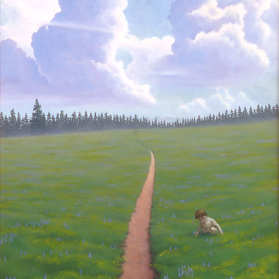 If God Was A Child, painting of a countryside with a boy playing in the grass, painting with little boy on a path, painting of colorado countryside, art from pagosa springs colorado, painting with mountain  trail, art with an infant, painting meaning divine god, soulful uplifting inspirational art, soul stirring illusion art, romantic art,  surrealism, surreal art, dreamlike imagery, fanciful art, fantasy art, dreamscape visual, metaphysical art, spiritual painting, metaphysical painting, spiritual art, whimsical art, whimsy art, dream art, fantastic realism art, magic realism oil painting by Paul Bond