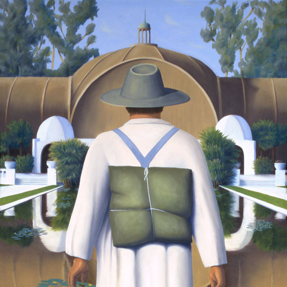 On The Path Of Knowing, painting of a man walking on water toward arboretum, art with temple, painting about wisdom and inner knowing, art with mystery, painting with San Diego balboa park, art with water lily reflecting pond, Art about being there, soulful uplifting inspirational art, soul stirring illusion art, romantic art,  surrealism, surreal art, dreamlike imagery, fanciful art, fantasy art, dreamscape visual, metaphysical art, spiritual painting, metaphysical painting, spiritual art, whimsical art, whimsy art, dream art, fantastic realism art, limited edition giclee, signed art print, fine art reproduction, original magic realism oil painting by Paul Bond