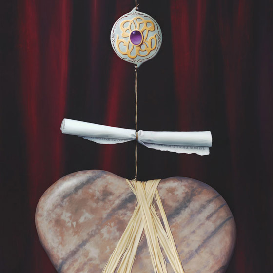 Sacred Contract #1, painting of heart shaped stone with rafia twine around it leading to a scroll and a jewel broach, floating heart stone, painting with scroll, art meaning love, painting with prominent jewel, soulful uplifting inspirational art, soul stirring illusion art, romantic art,  surrealism, surreal art, dreamlike imagery, fanciful art, fantasy art, dreamscape visual, metaphysical art, spiritual painting, metaphysical painting, spiritual art, whimsical art, whimsy art, dream art, fantastic realism art, limited edition giclee, signed art print, fine art reproduction, original magic realism oil painting by Paul Bond