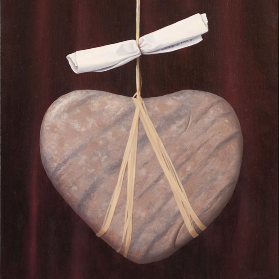 Sacred Contract #2, painting of heart shaped stone suspended by rafia twine with pink jewel pendant and scroll, suspended heart stone, art with scroll and rock, painting meaning love, soulful uplifting inspirational art, soul stirring illusion art, romantic art,  surrealism, surreal art, dreamlike imagery, fanciful art, fantasy art, dreamscape visual, metaphysical art, spiritual painting, metaphysical painting, spiritual art, whimsical art, whimsy art, dream art, fantastic realism art, magic realism oil painting by Paul Bond