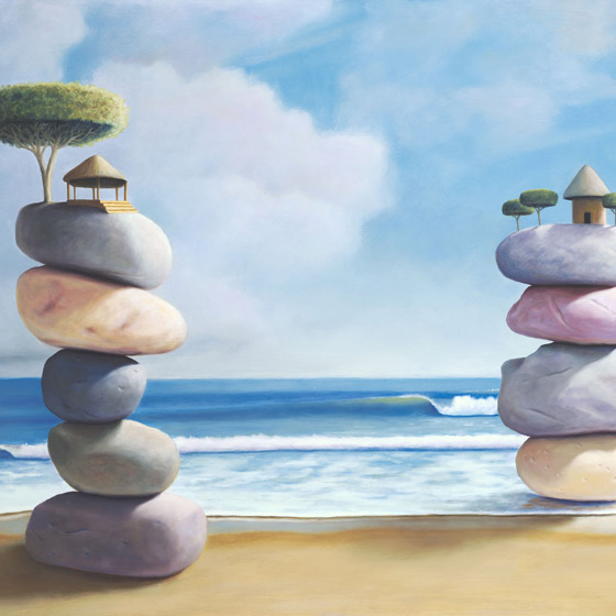 Shelter, painting of two stacked stone structures with grass shack hut and tree on the beach, painting meaning about relationship wisdom happiness, art wtih stacked rock stones, art with stacked cairn, zen art, art about balance joy and community, painting depicting huts as homes, beach art with  ocean water, art with waves and clouds, soulful uplifting inspirational art, soul stirring illusion art, romantic art,  surrealism, surreal art, dreamlike imagery, fanciful art, fantasy art, dreamscape visual, metaphysical art, spiritual painting, metaphysical painting, spiritual art, whimsical art, whimsy art, dream art, fantastic realism art, magic realism oil painting by Paul Bond