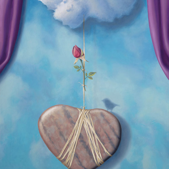 The Illusion Of Love's Disturbance, painting of a heart shaped stone tethered to a cloud with rope and a rose, art with blue sky and purple curtains in background, painting with prominently featured bird and heart shaped rock stones, rafia string, soulful uplifting inspirational art, soul stirring illusion art, romantic art,  surrealism, surreal art, dreamlike imagery, fanciful art, fantasy art, dreamscape visual, metaphysical art, spiritual painting, metaphysical painting, spiritual art, whimsical art, whimsy art, dream art, fantastic realism art, limited edition giclee, signed art print, fine art reproduction, original magic realism oil painting by Paul Bond